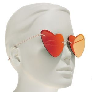Diff Eyewear Accessories - Diff eyewear Remy heart shaped sunglasses red gold